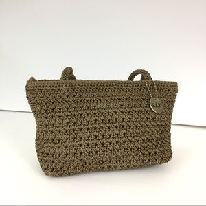The SAK Tan Crocheted Shoulder Bag